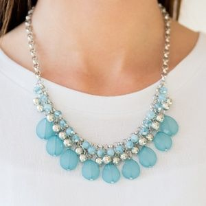 Silver Necklace W/ Baby Blue Beads
